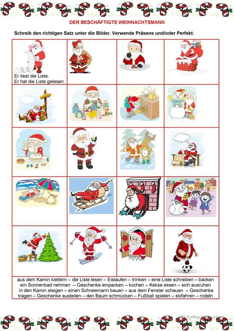 Perfekt - Weihnachten Arbeitsblatt - Kostenlose DAF Arbeitsblätter ...
