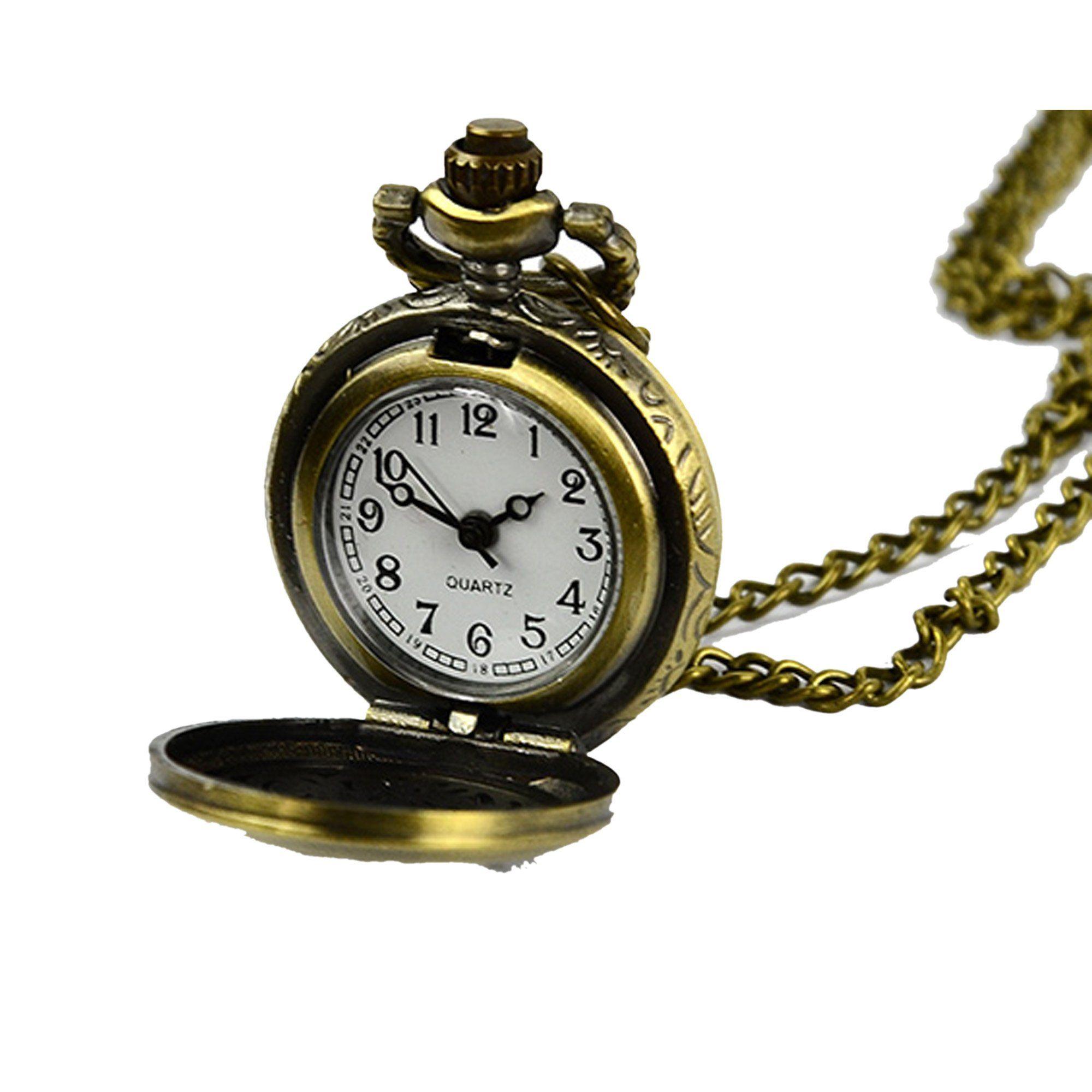 Amazon.com: FINEJO Retro Vintage Bronze Steampunk Quartz Necklace Clock  Pocket Watch Flor.