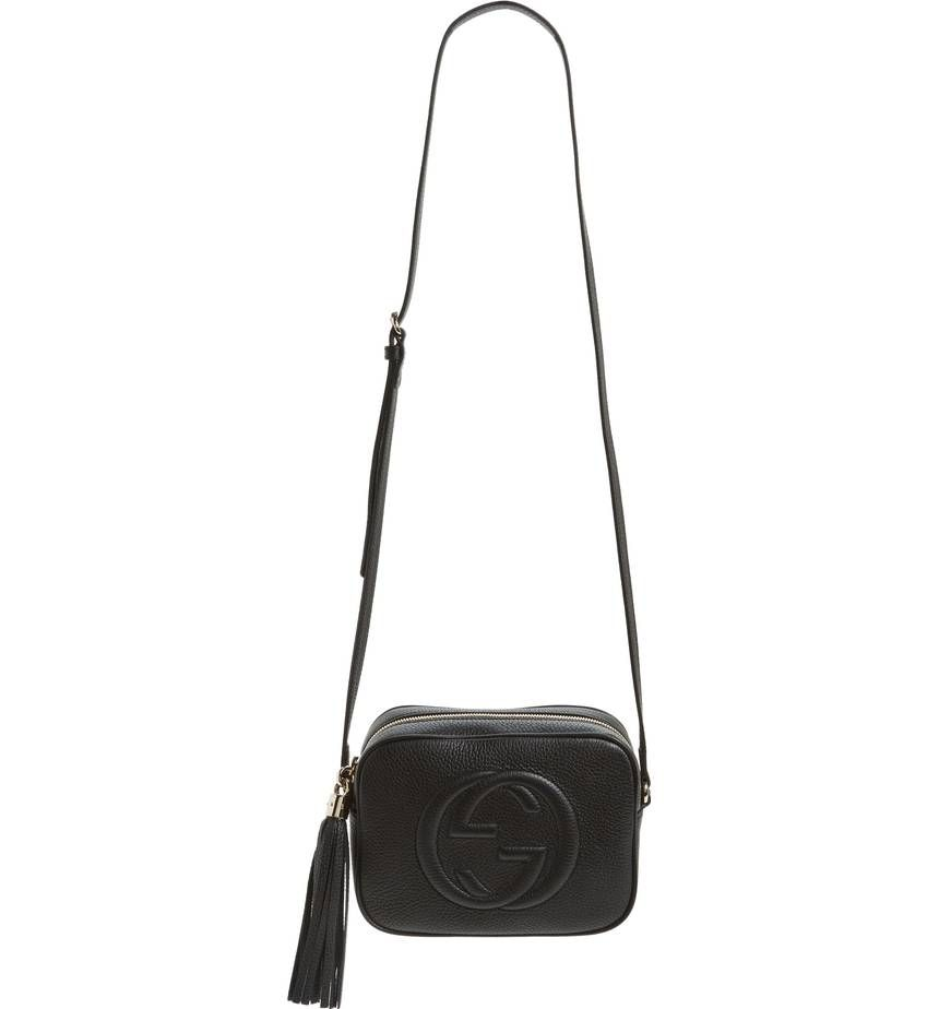 03259a32d37a ... the interlocking double G logo, this compact shoulder bag is set off  with a swingy tassel at the zipper pull.1000 Nero- Gucci Soho Disco Leather  Bag