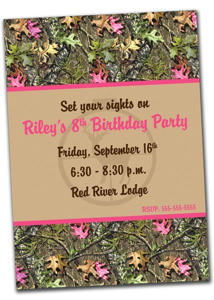 printable hunting birthday invitation for girl- pink camo on etsy, Birthday invitations