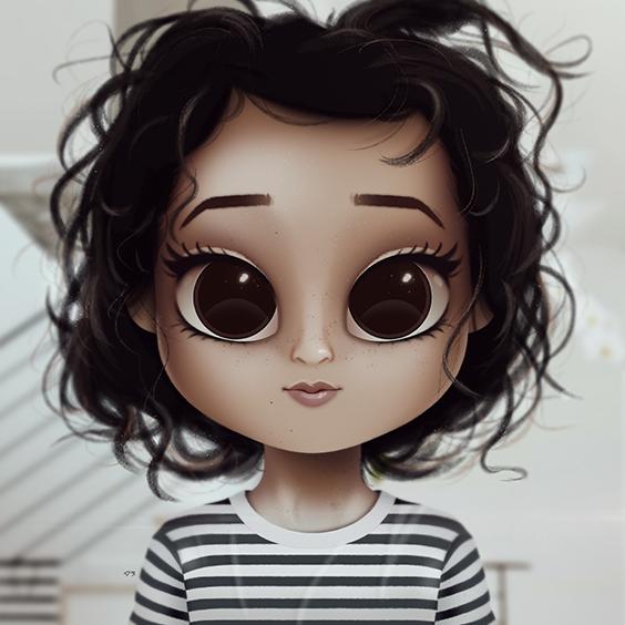 Cartoon Portrait Digital Art Digital Drawing Digital Painting Character Design Drawing Big Eyes Cu Illustration Art Girl Big Eyes Art Cute Cartoon Girl