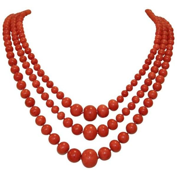 Preowned Sardinian Coral Graduated Triple Strand Necklace (65.970.025 COP) ❤ liked on Polyvore featuring jewelry, necklaces, red, 14k jewelry, red necklace, knotted bead necklace, 14 karat gold necklace and pre owned jewelry