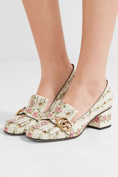6d7f00d0c Totally out of my league, but so pretty for spring: Gucci | Marmont fringed  floral-print loafers | NET-A-PORTER.COM