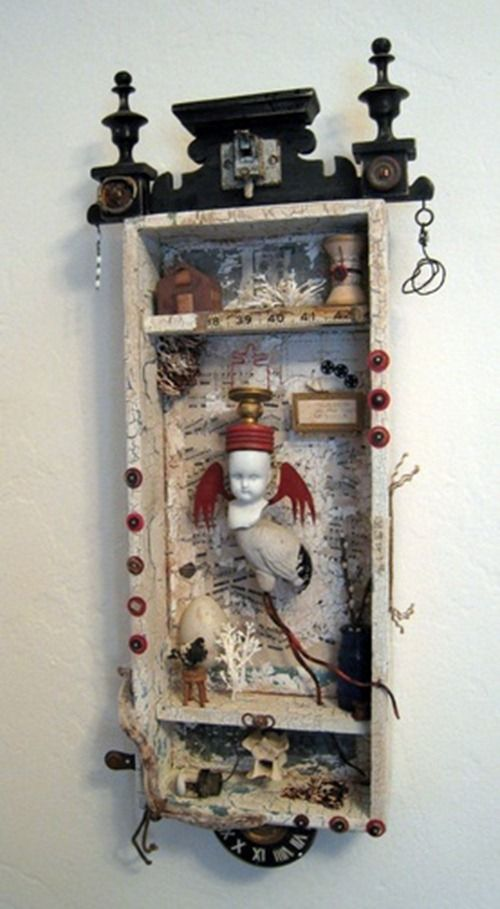 Interesting assemblage art-maybe explore personal identity through the variety of surfaces, objects, patterns, memorabilia etc.