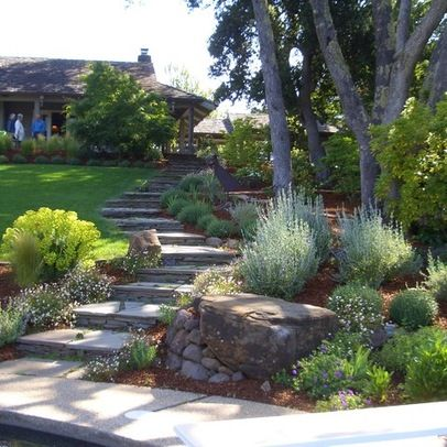 Landscape On A Hill Design Ideas Pictures Remodel And Decor Traditional Landscape Backyard Landscaping Landscape Stairs