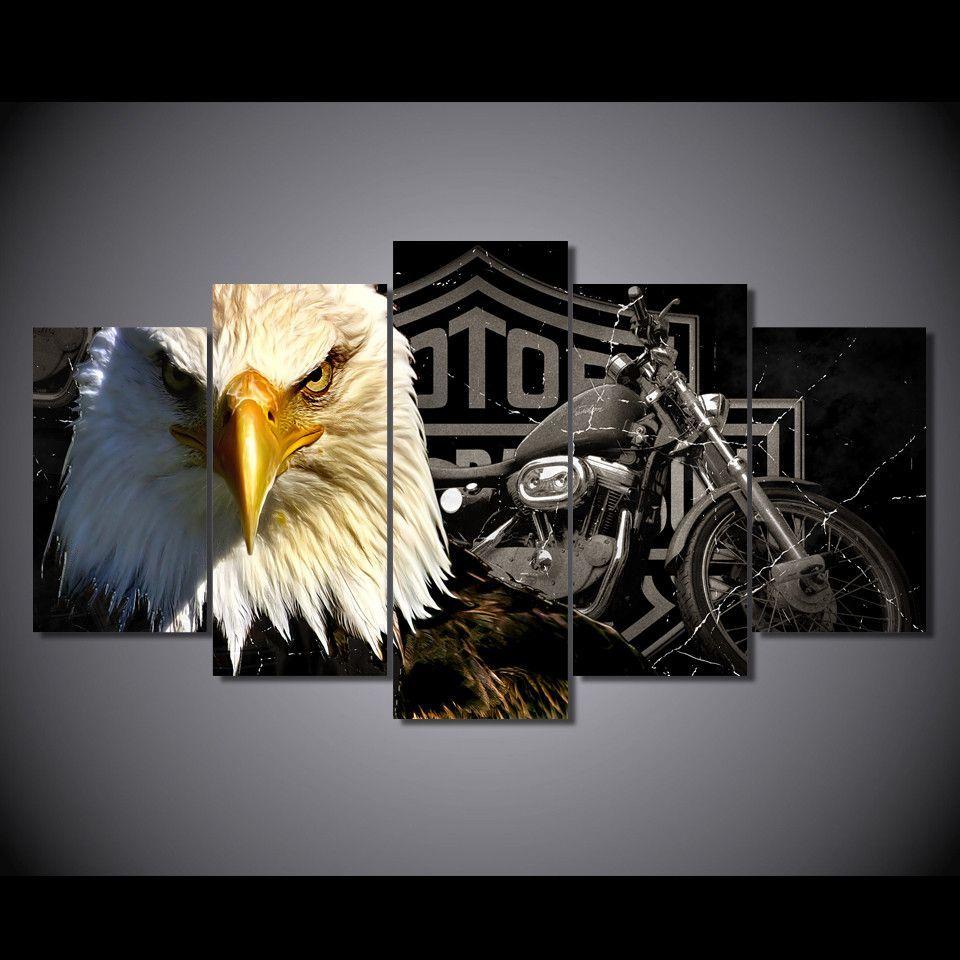 Motorcycle Canvas Wall Art Harley Davidson Logo Home Decor Prints
