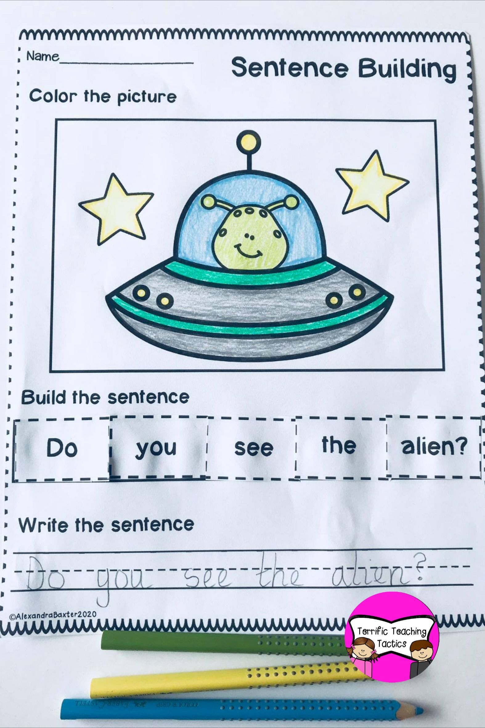 Space Themed Sentence Building In