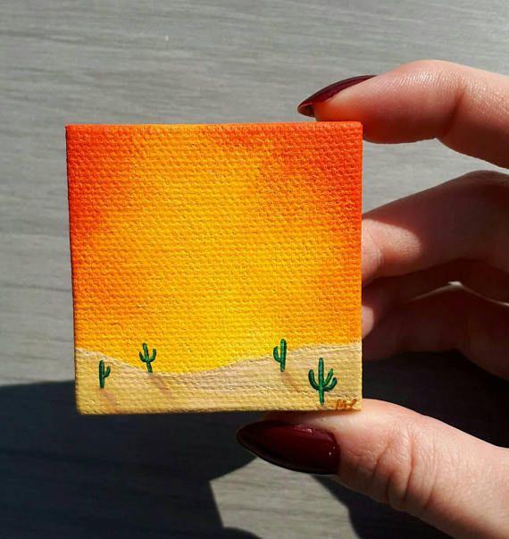 Little Desert Painting, Desert Cactus Painting, Cacti Painting, Cactus Decor, Sunset Painting, Sunset In Desert, Little Cactus Art, Tiny Art