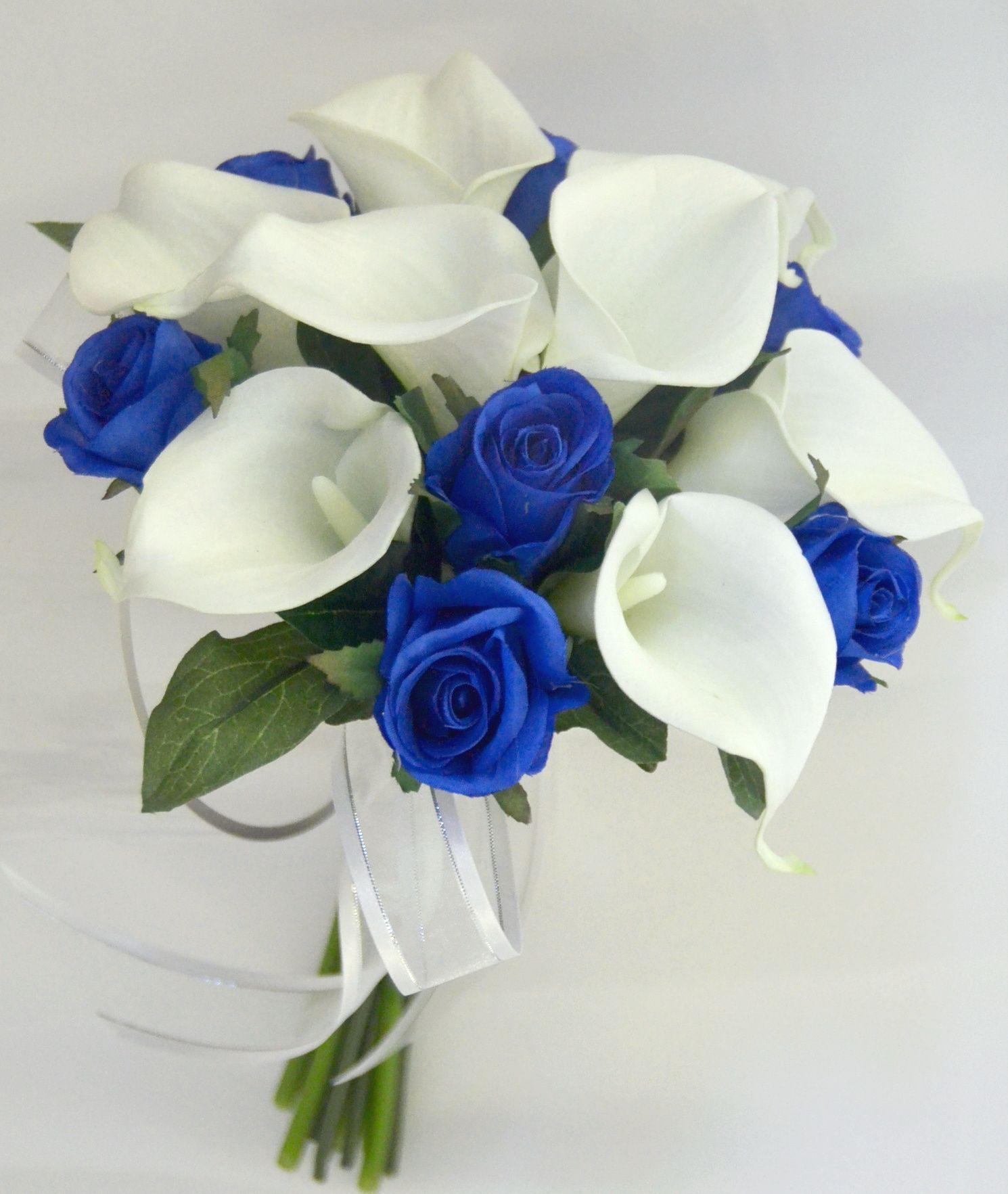 Blue Rose Calla Lily Bouquet Calla Lily Bouquet Blue Wedding Bouquet Flower Bouquet Wedding