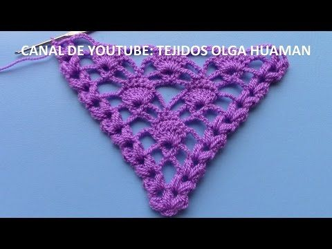 punto calado tejido a crochet para chal triangular - YouTube ...