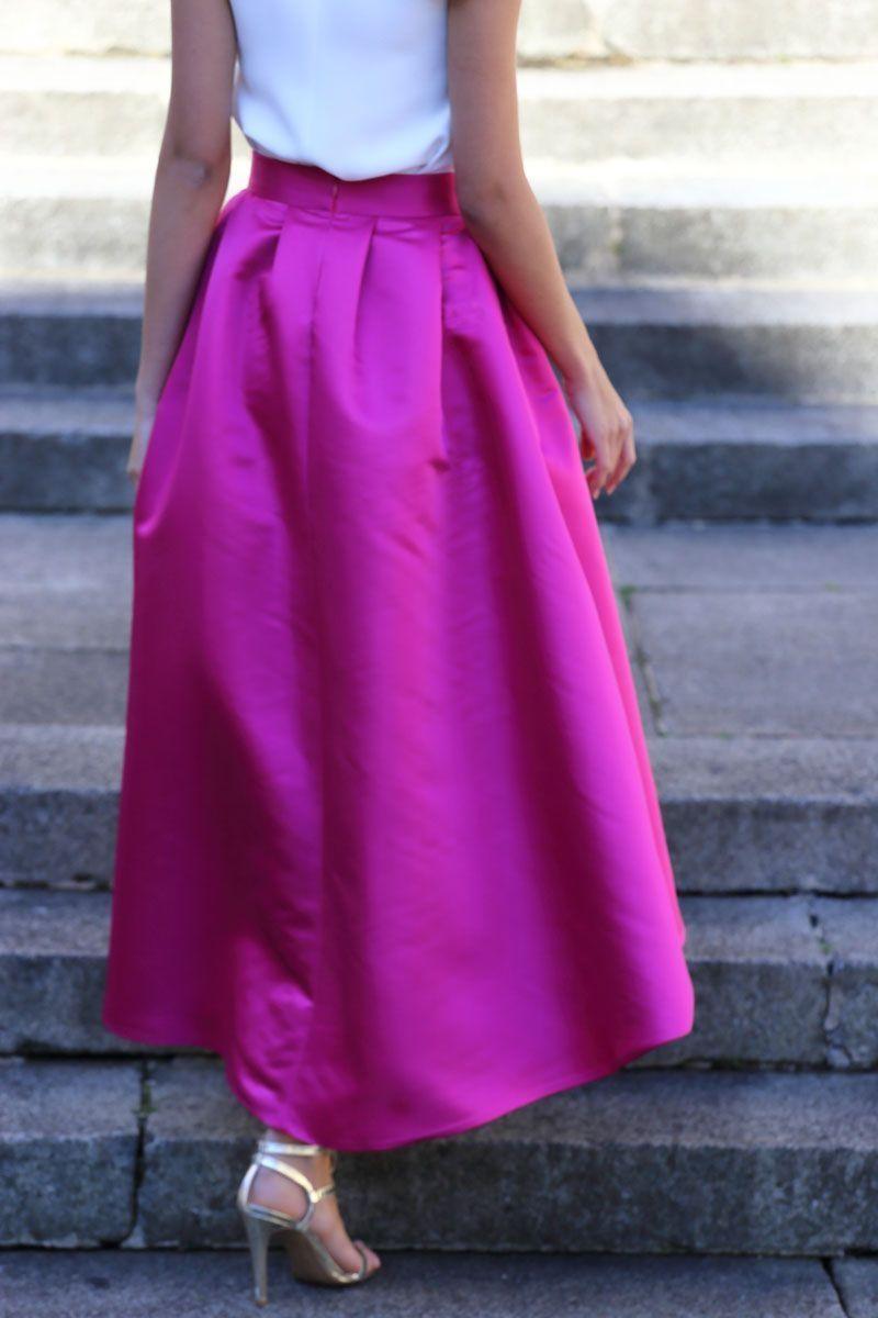 comprar online falda de fiesta asimetrica midi color frambuesa de ...