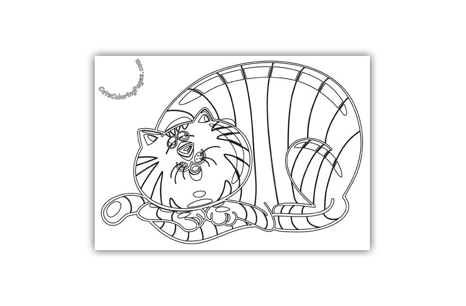 Sleepy Tabby Tomcat Coloring Page Cat coloring page