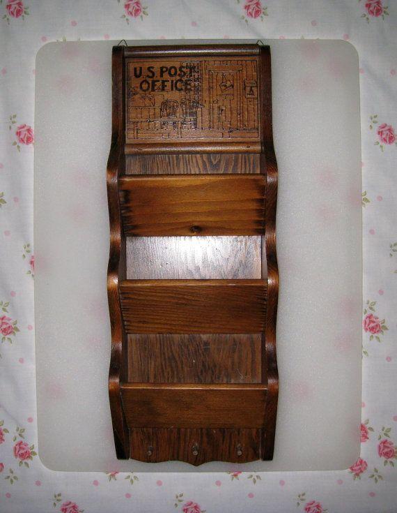 Vintage Solid Wood 3 Pocket Wall Mount Letter and Key Holder ...