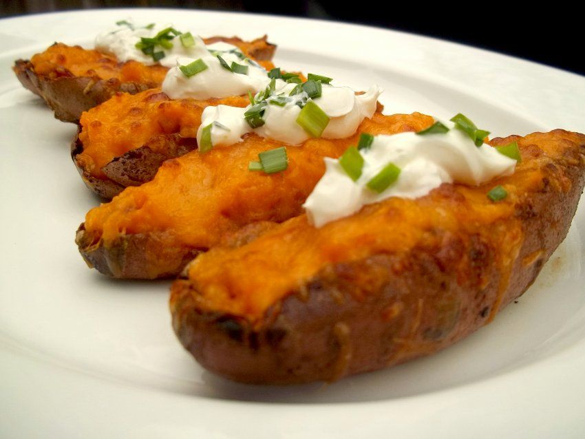 Sweet Potato Skins with Bacon from Food Republic. http://punchfork.com/recipe/Sweet-Potato-Skins-with-Bacon-Food-Republic