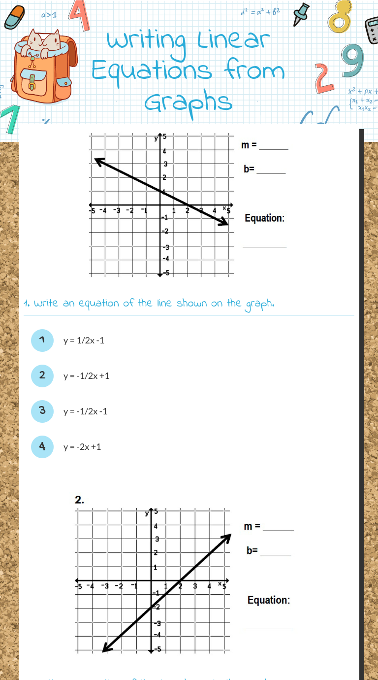 Worksheets Writing Linear Equations Worksheet wizer me blended worksheet writing linear equations from graphs graphs