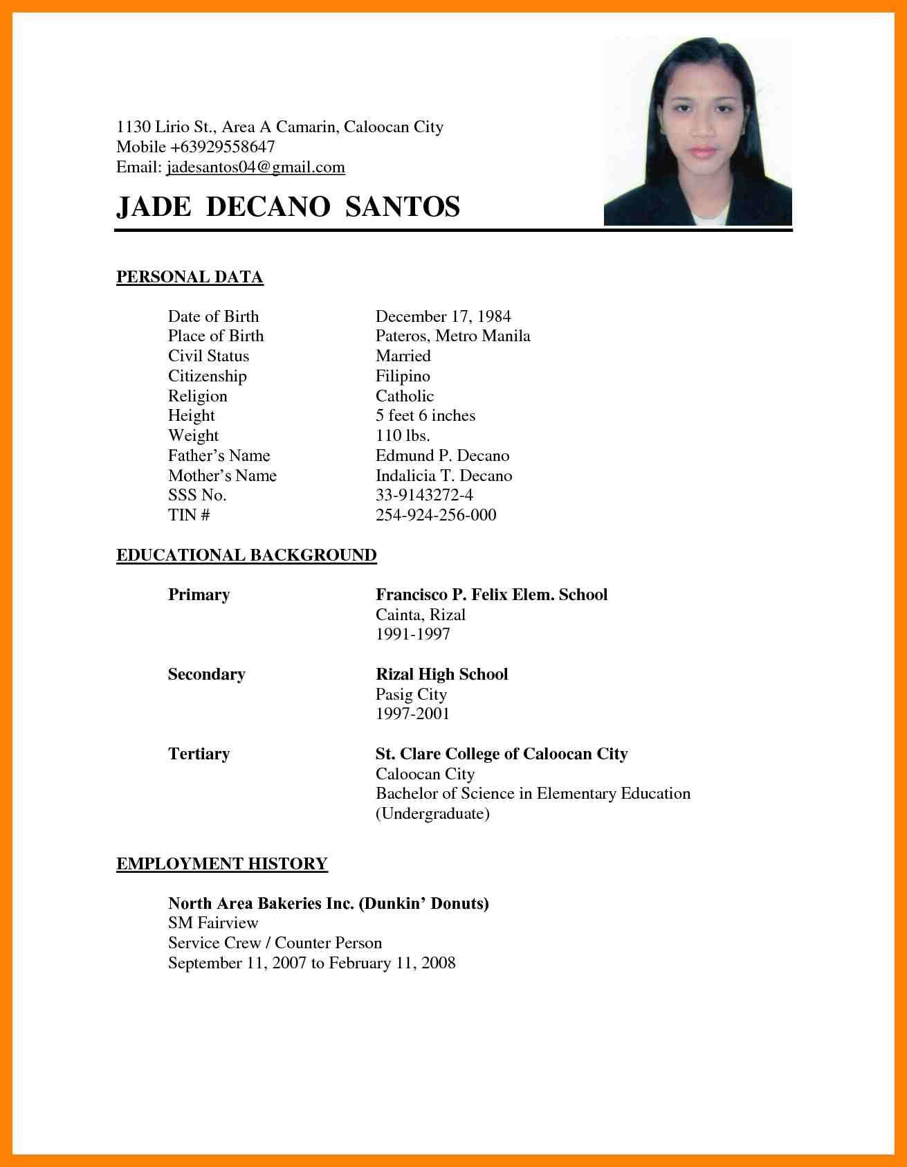 7 Biodata For Marriage Format Cook Resume think down