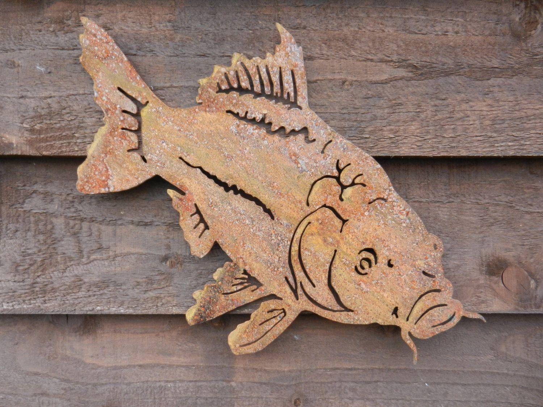 Carp Wall Decor / Rustic Metal Fish Wall Art / Rusty Metal ...
