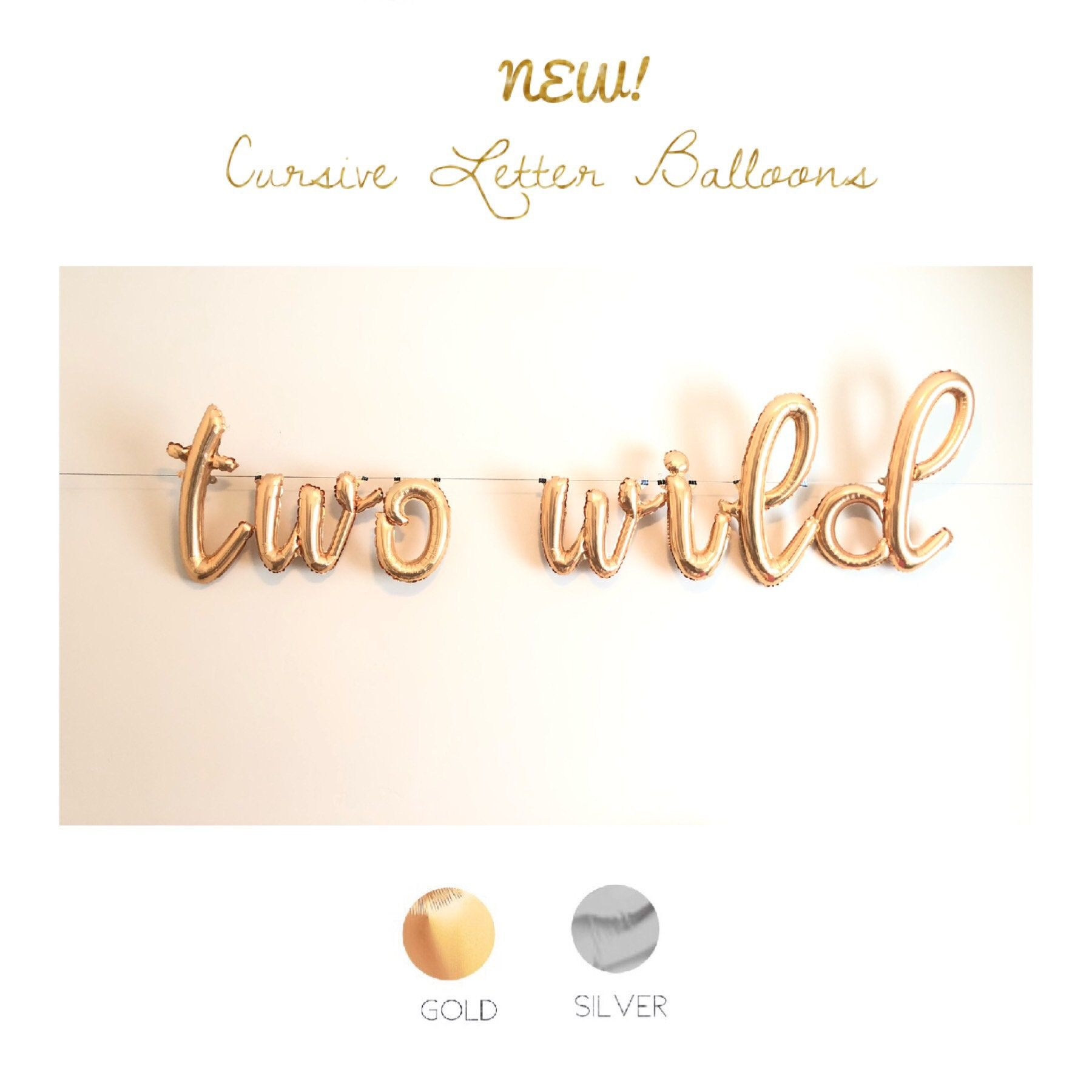 Cursive Two Wild Balloons 14 Foil Letter Balloons Gold Silver