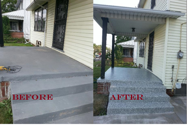 Front Porch Concrete Resurface Makeover Lima Oh Concrete Front