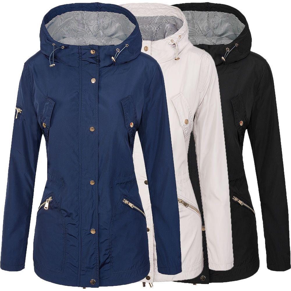 34156189a8e414 Designer Damen Windbreaker Damen Jacke Mantel Kapuze Übergangs Jacke D-296 S -XL