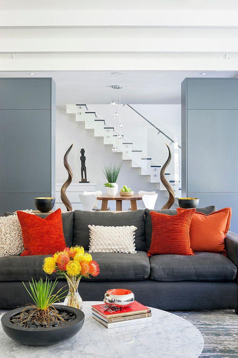 Серый диван с яркими подушками | Home decor | Pinterest | Decoration ...
