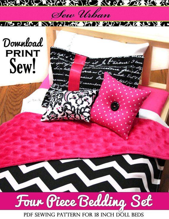 Pixie Faire Sew Urban Four Piece Bedding Set Doll Clothes Pattern for 18 inch American Girl Dolls - PDF #18inchdollsandclothes