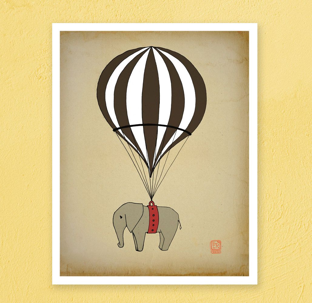 Elephant Hot air balloon Archival Art Print 8x10 nursery poster ...