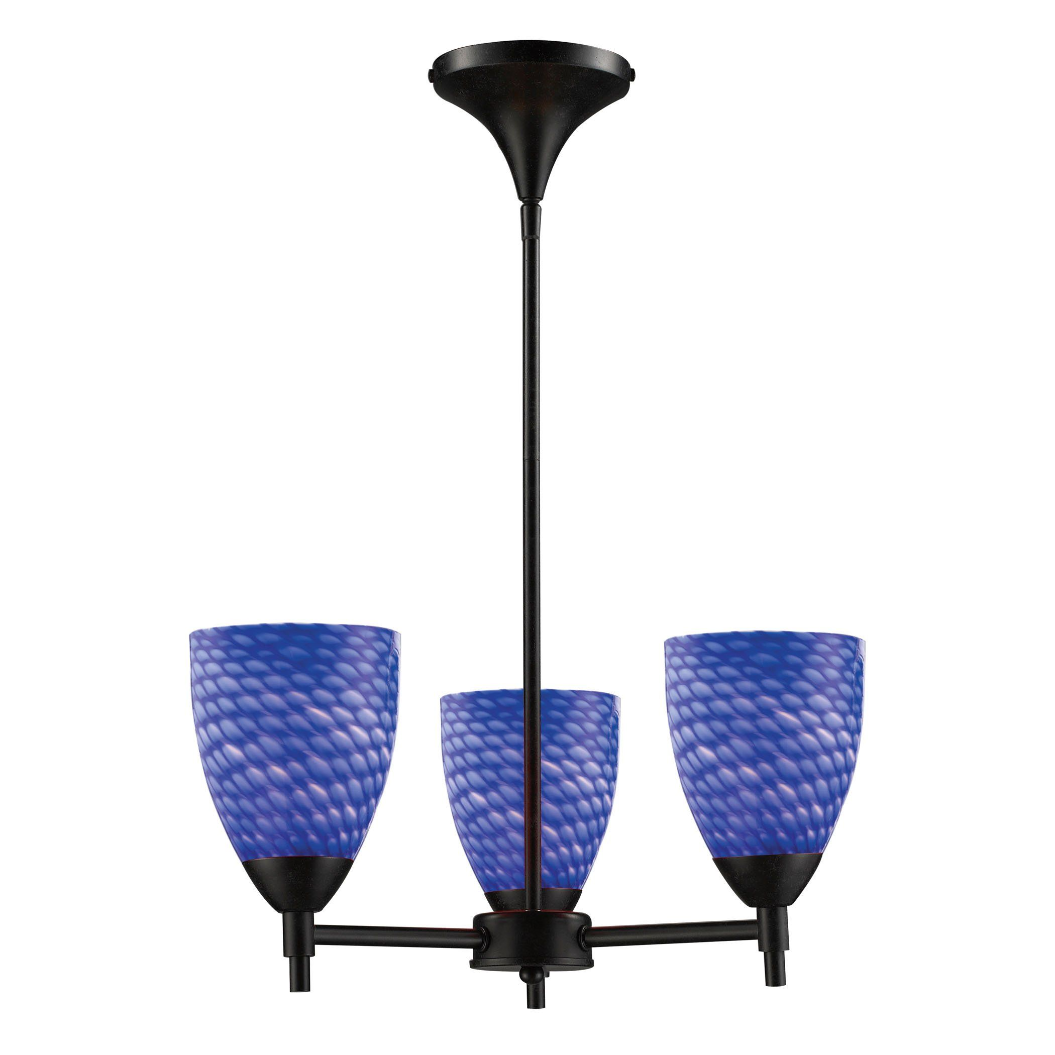 Celina Light Chandelier In Dark Rust And Sapphire Glass Products