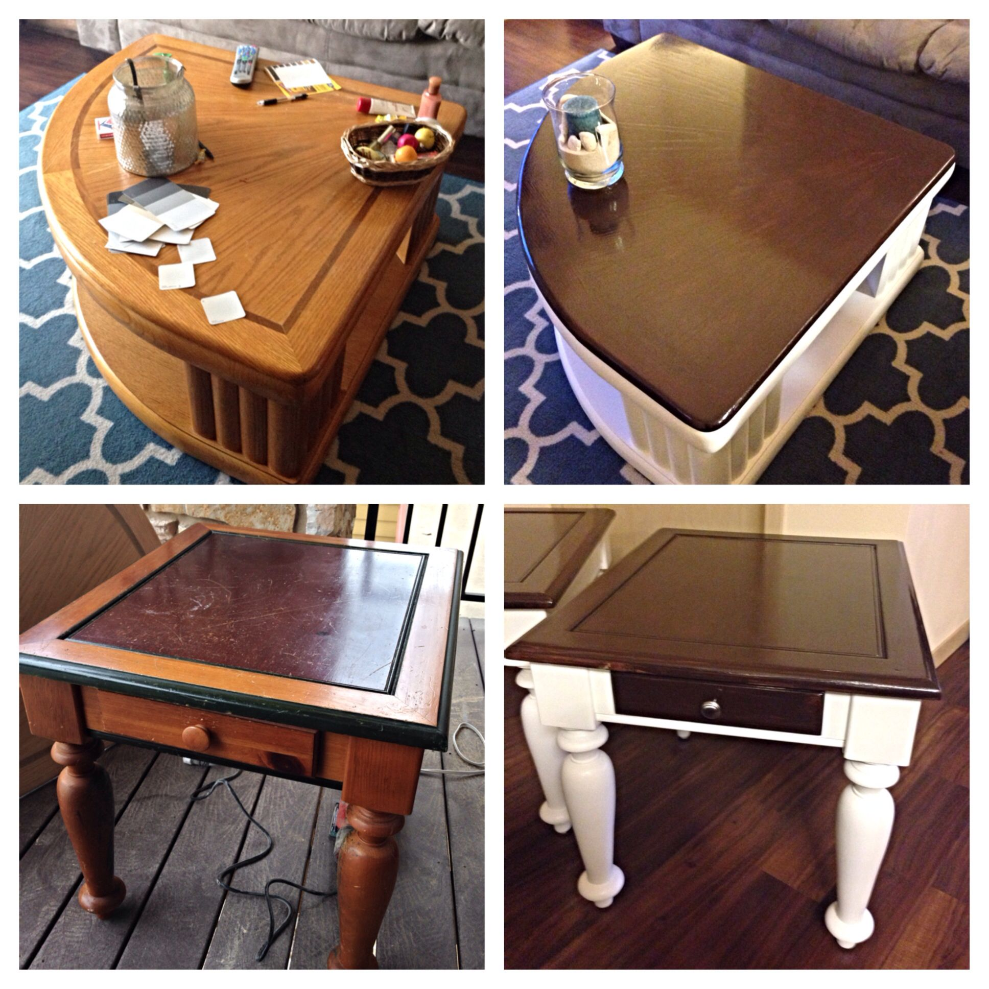 Before After Coffee Table End Tables Refinishing Painted White With A Dark Walnut Stain On Top Painted End Tables Painted Coffee Tables Coffee Table Redo