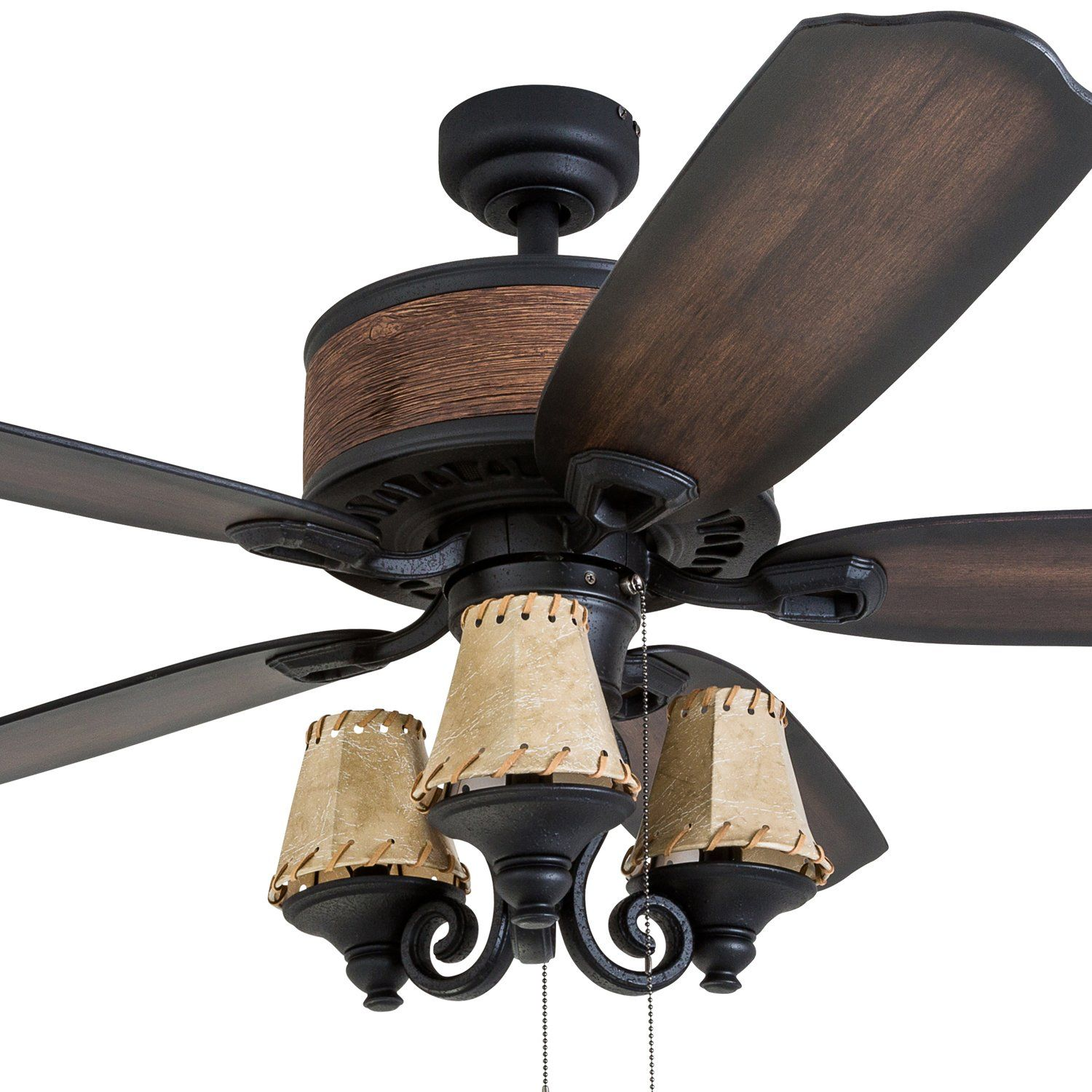 Prominence Home 41110 01 Inspired Chestnut Leather Lamp Ceiling Fan Rustic Style