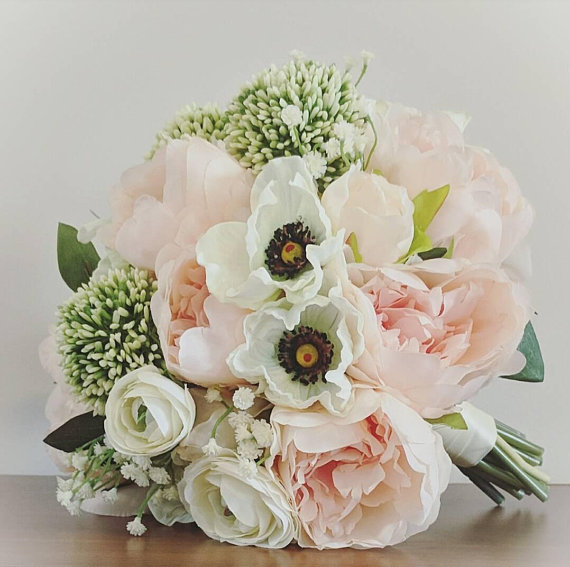 Wedding Bouquet Peach Blush Silk Peony Bouquet Real Touch
