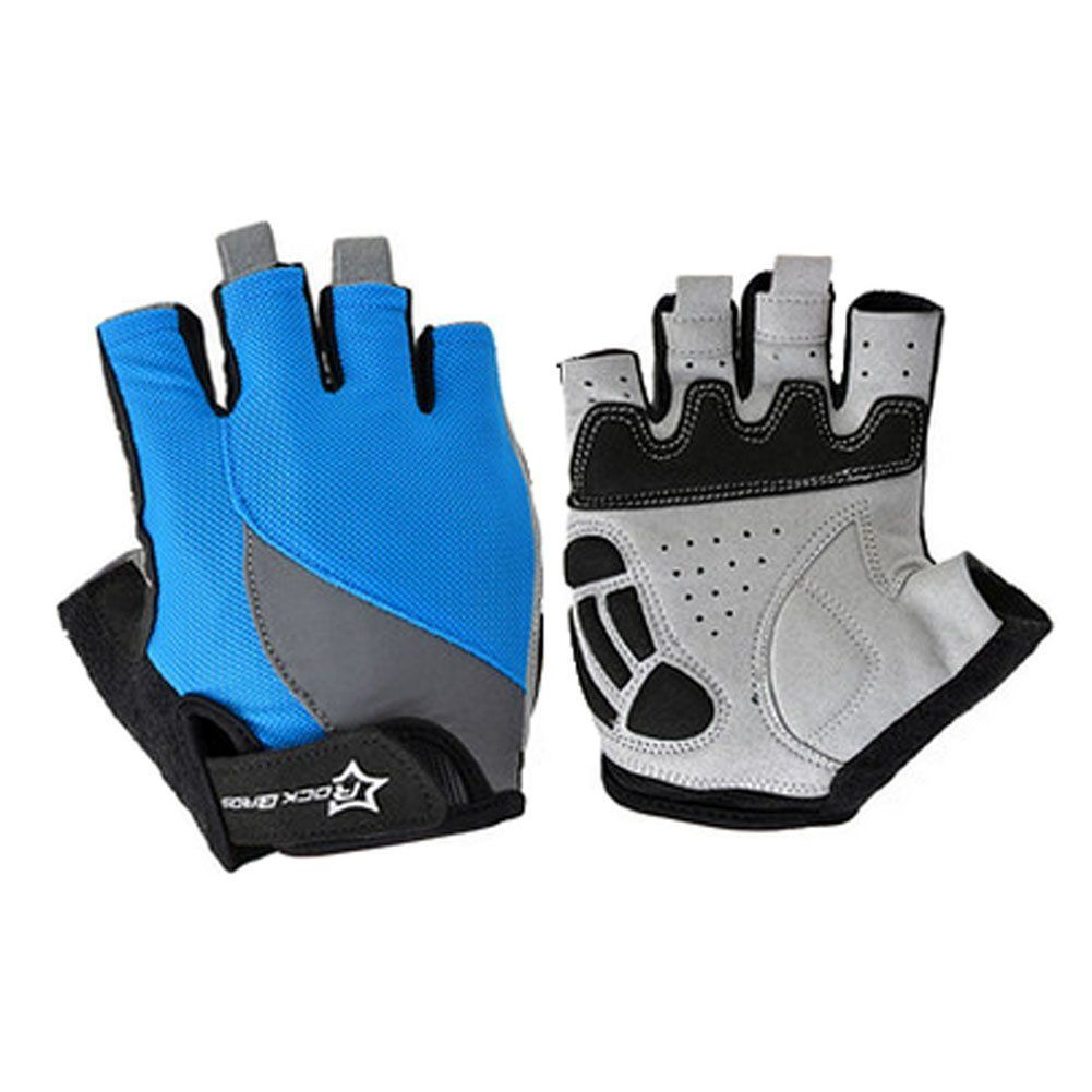 Durable Half Finger Gloves Fingerless Cycling Glove Bicycle Sports Gloves, Blue * You can find out more details at the link of the image.