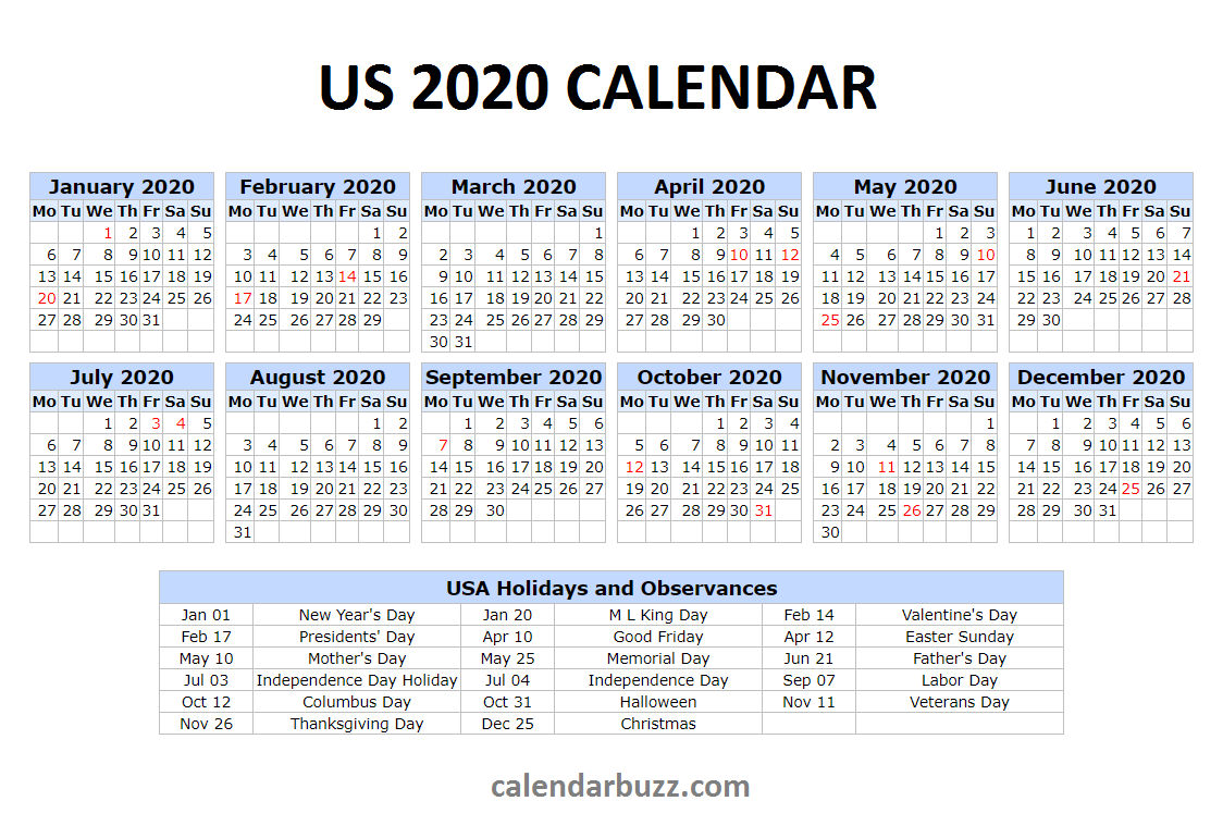 2020 US Festivals Calendar Holiday calendar printable
