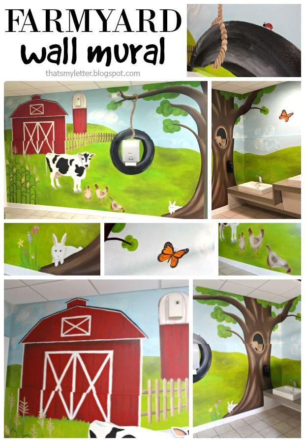 That S My Letter Diy Painted Farmyard Wall Mural In Kids Bathroom Wall Murals Wall Murals Bedroom Wall Murals Painted Diy