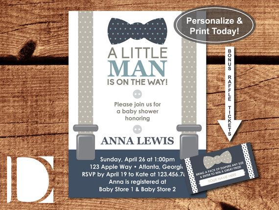 Little Man Baby Shower Invitation, Bow Tie, Suspenders, Navy Blue - baby shower invitations for word templates