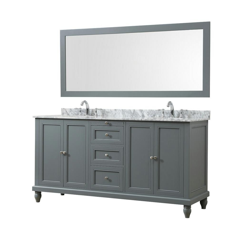 Direct Vanity Sink Classic 70 In Bath Vanity In Gray With White Carrara Marble Vanity Top With White Basins And 1 Large Mirror Marble Vanity Tops Vanity Sink Single Sink Bathroom Vanity