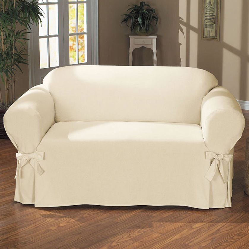 one arm sofa slipcover 5 in air bed duck piece relaxed fit with ties natural beige off white solid