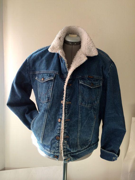 fc339b160 Vintage men's denim Wrangler jacket with Sherpa by RetroGradeNJ | My ...