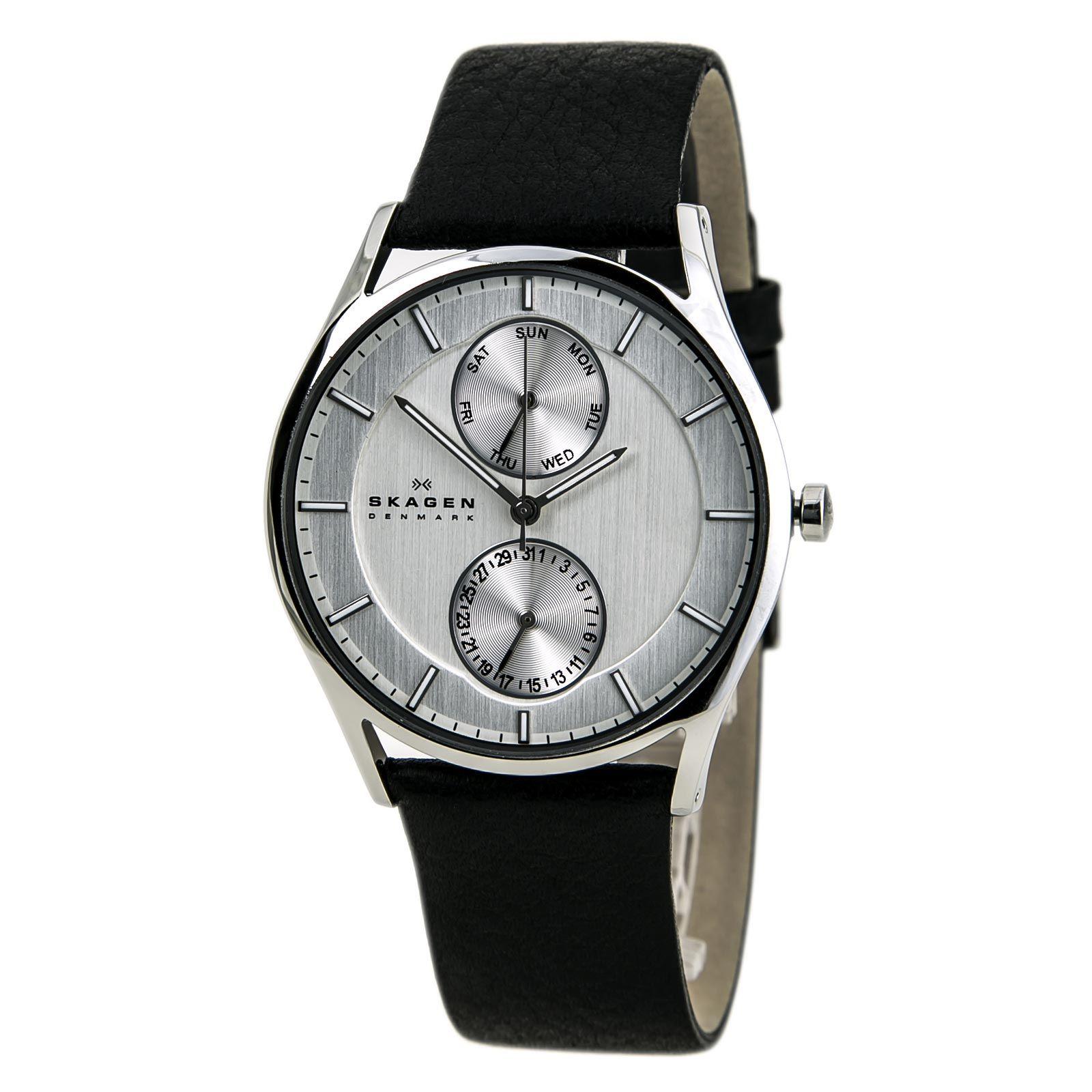 Skagen SKW6065 Men's Denmark Holst Klassik Silver Dial Black Leather Strap Watch,