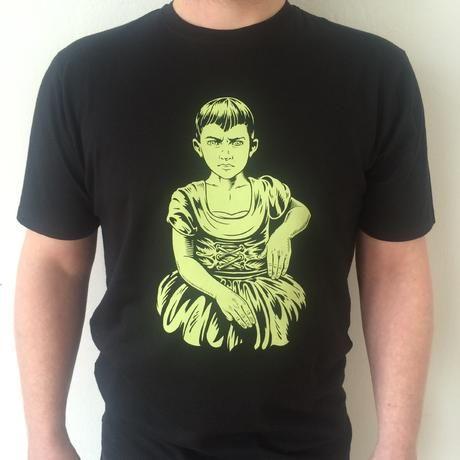 unisex high quality t-shirt, black with light-greenprint