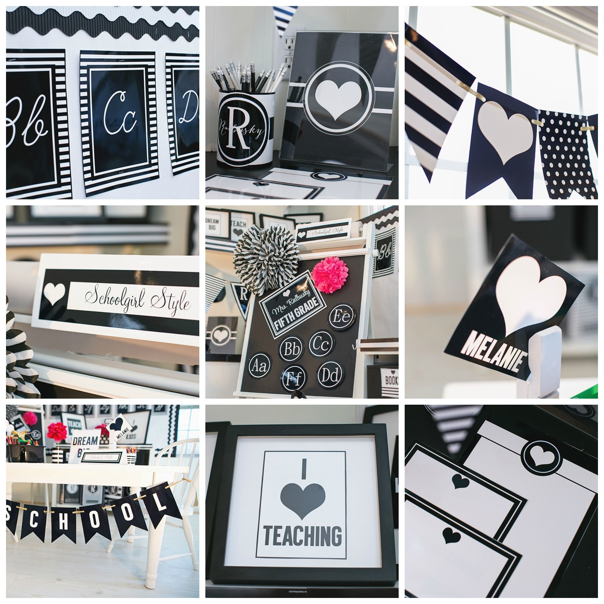 Classroom Decor Black And White : Black and white classroom theme decor by schoolgirl style