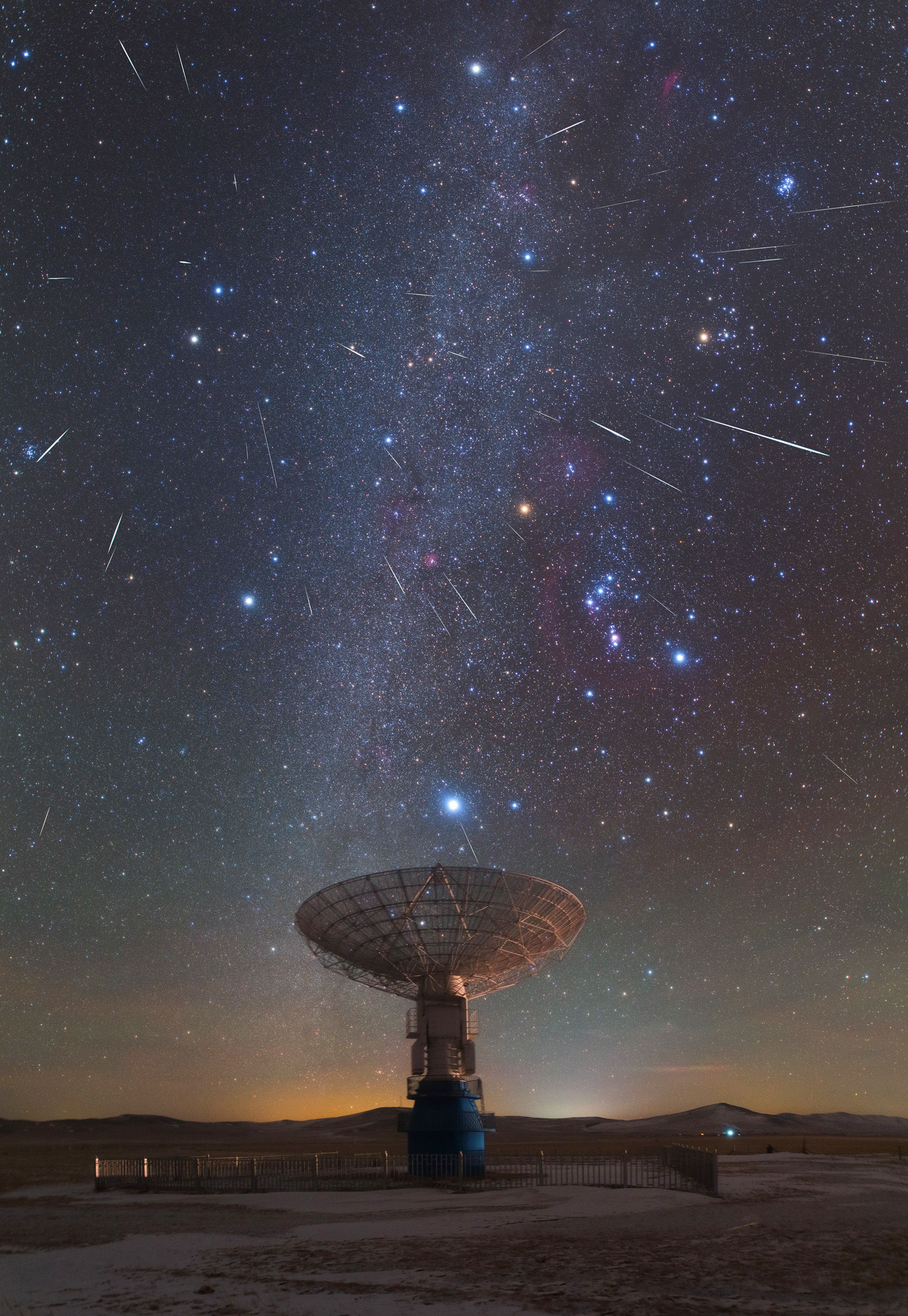 Earth S Annual Geminid Meteor Shower Above A Radio Telescope Dish Of Muser A Solar Dedicated Radio Telescope Array A Astronomy Pictures Meteor Shower Astronomy