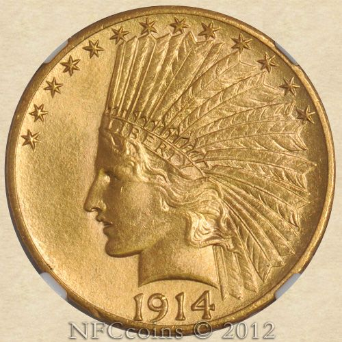 1914 S Ten Dollar Gold Indian Ms64 Ngc Cac Obverse Gold Coins Old Coins Gold And Silver Coins