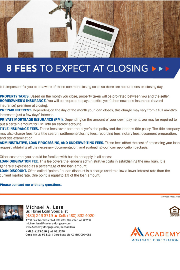 Eight Fees To Expect At Closing Michael Lara Loan Officer At Academy Mortgage Chandler Branch Mortgage Loan Officer Mortgage Loan Originator Mortgage Payoff
