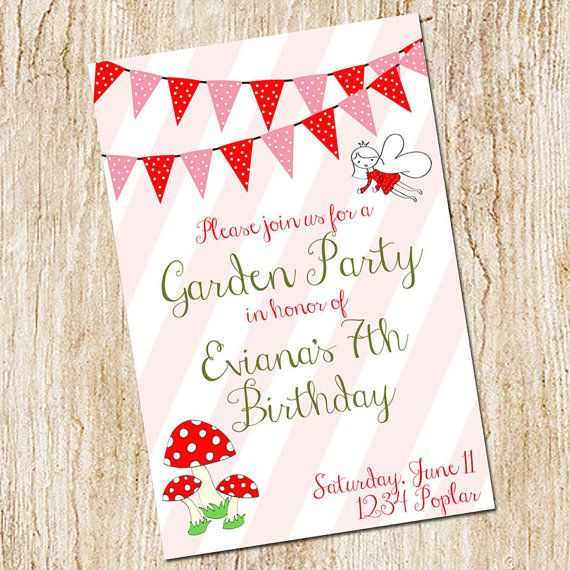 Garden Party Invitation Birthday Party Invitation Digital File