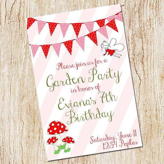 garden party invitation birthday party invitation digital file