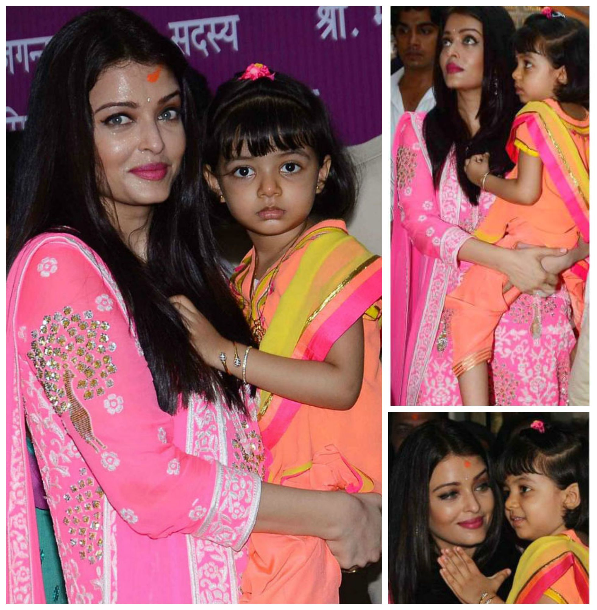 GANPATI KE DARSHAN Aishwarya Rai Bachchan and her adorable daughter ...