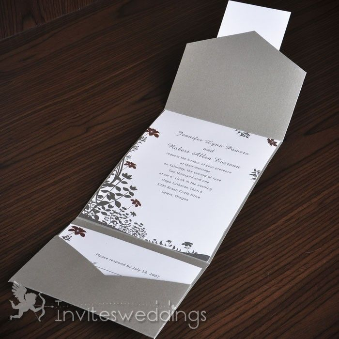 Wedding Invitations Online Simple Floral Silver Pocket
