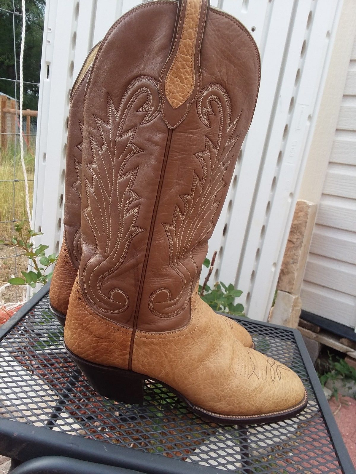 7703e7548f0 Hondo Women's Brown/Tan Western Leather Boots 2.75