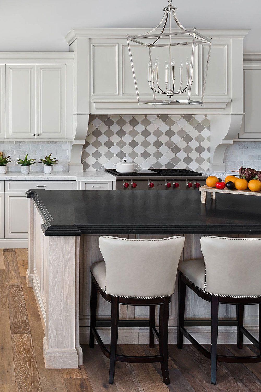 Transitional Kitchen Black Countertop White